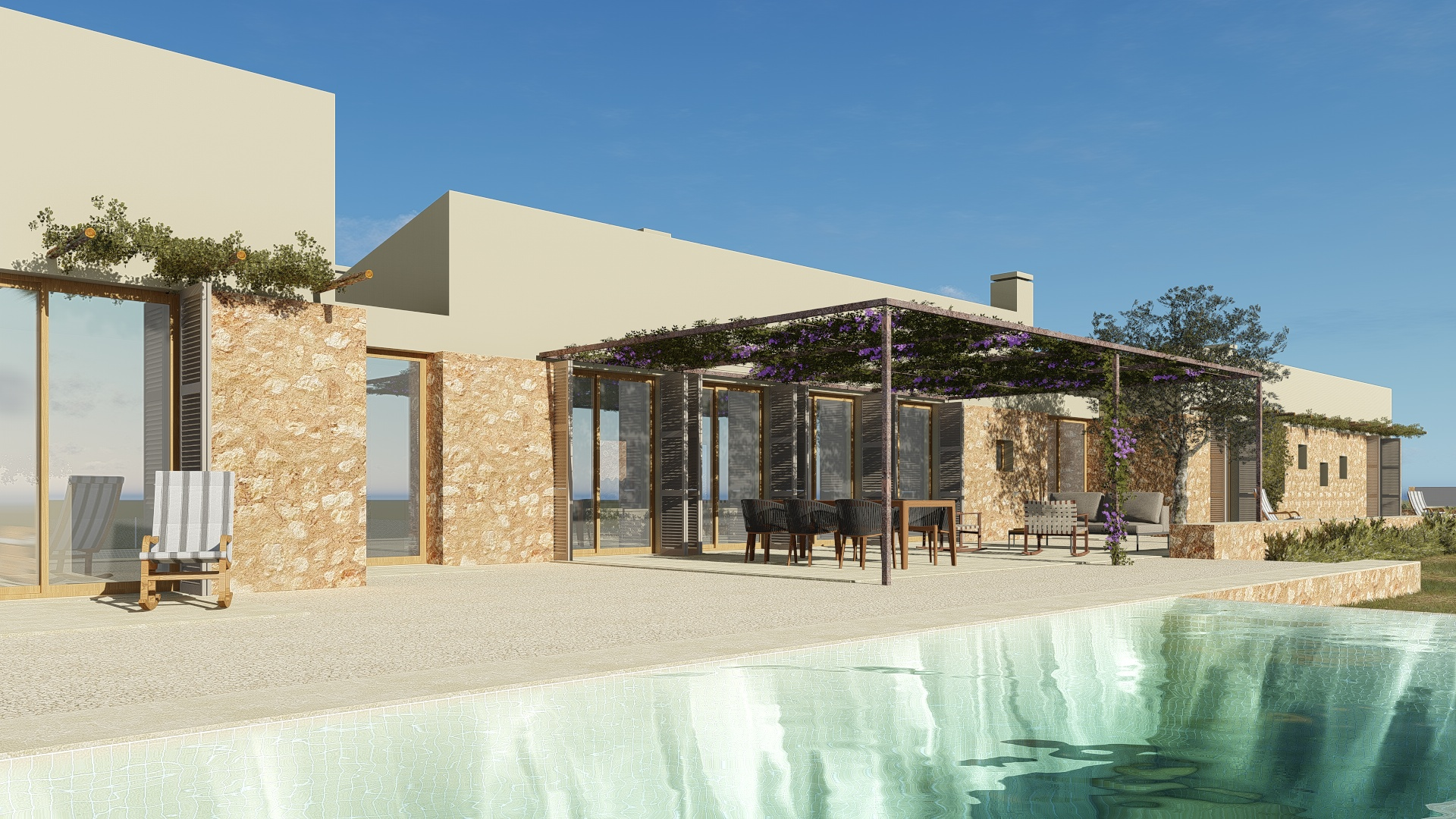 Immediate start of construction – Magnificent natural stone finca with infinity pool close to Portocristo